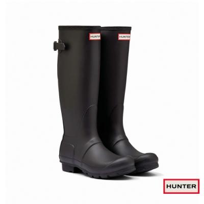 HUNTER - 女鞋-可調整扣帶霧面長靴 - 黑