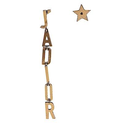 DIOR 經典J Adior系列鍍金復古金屬不對稱造型綴飾穿式耳環(金)