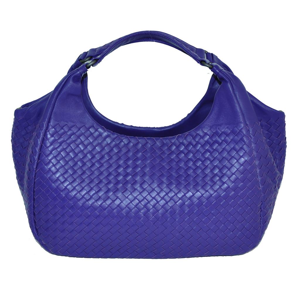 Yasmine進口綿羊皮編織雙提把肩包(藍靛紫色)