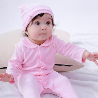 【Deux Filles有機棉】棉絨包腳連身衣-粉紅