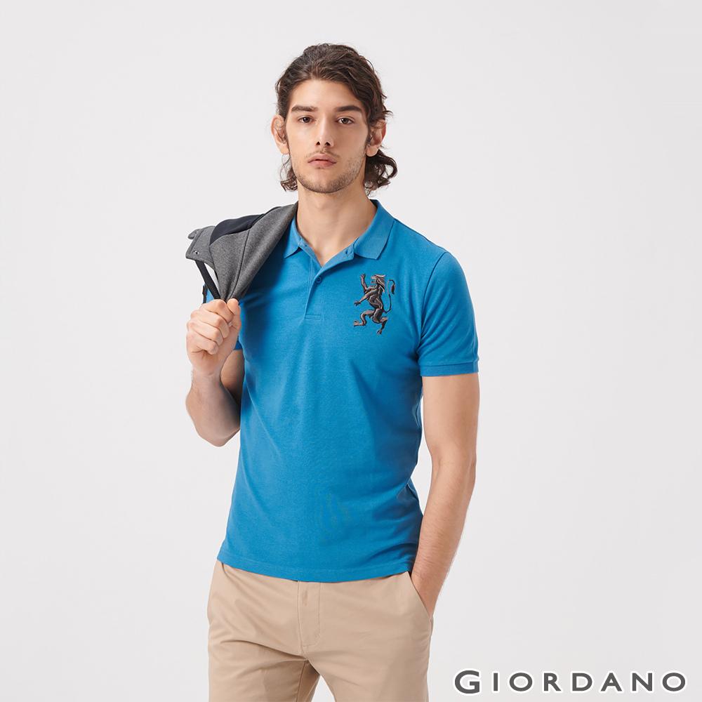 GIORDANO 男裝勝利獅王漸層刺繡彈力萊卡POLO衫-42 雪花月亮藍
