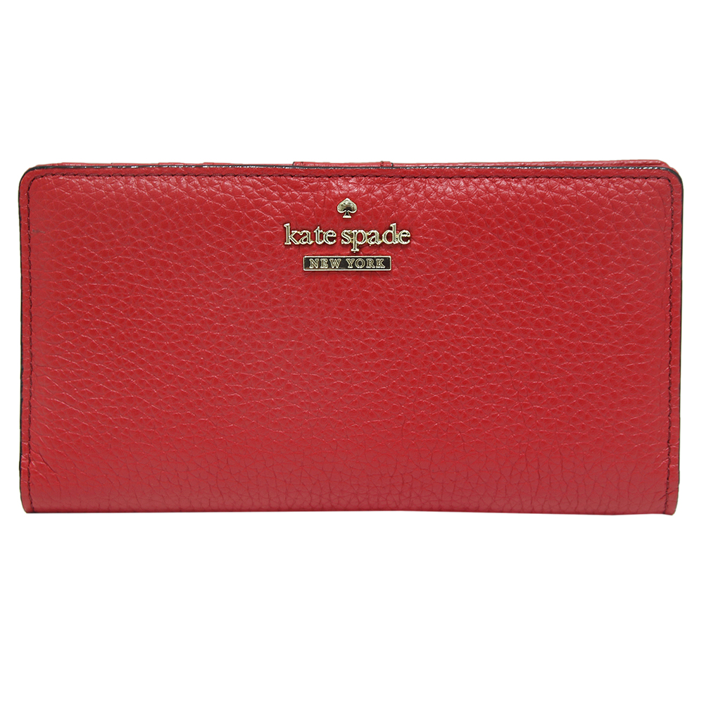 Kate spade stacy 雙折扣式荔枝紋牛皮長夾-紅色