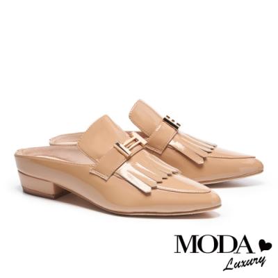 拖鞋 MODA Luxury 復古雅痞風格流蘇穆勒低跟拖鞋-米