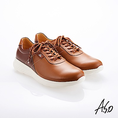 A.S.O霸足氣墊 綁帶拼色牛皮氣墊休閒鞋 茶