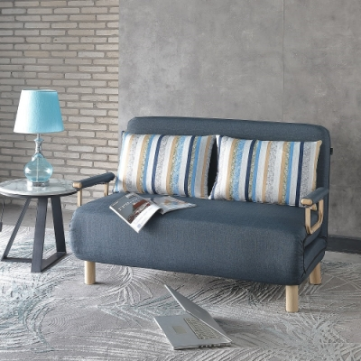 MUNA 羅登雙人布沙發床(深藍色)  134X83X87cm