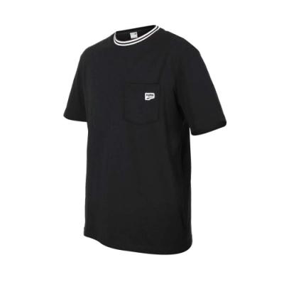 PUMA 男DOWN TOWN口袋短袖T恤-亞規 純棉 慢跑 路跑 休閒 上衣 53143201 黑白
