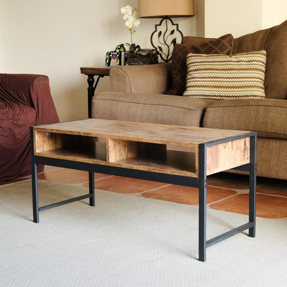 Amos-輕工業復古風鐵框90公分矮茶几桌