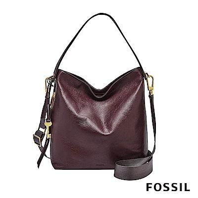 FOSSIL MAYA 真皮側背包/肩包兩用包-棗紅色