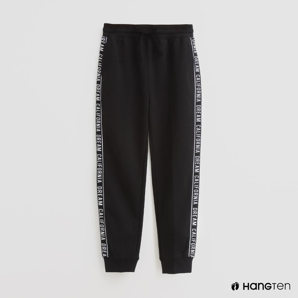 Hang Ten -童裝 - 腰部綁帶鬆緊運動長褲 - 黑
