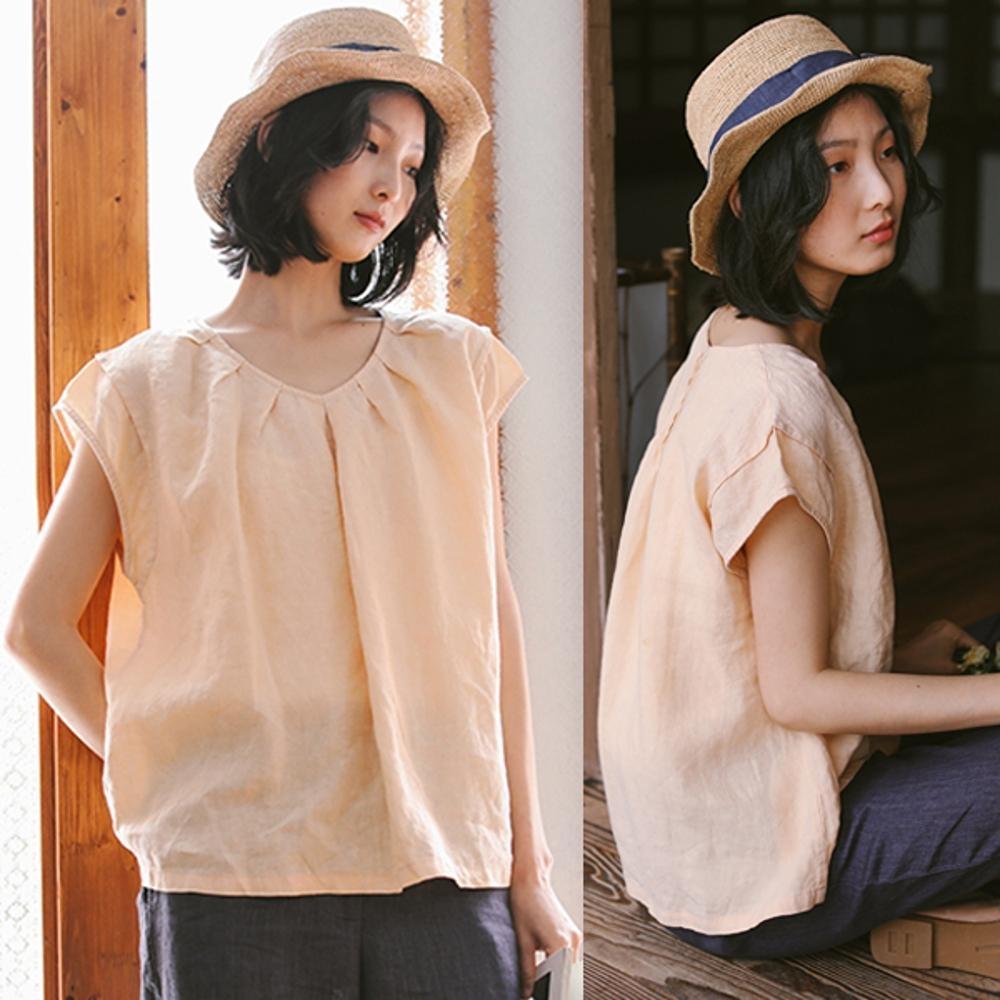 T恤-砂洗亞麻素色短袖寬鬆文藝V領杏上衣-設計所在