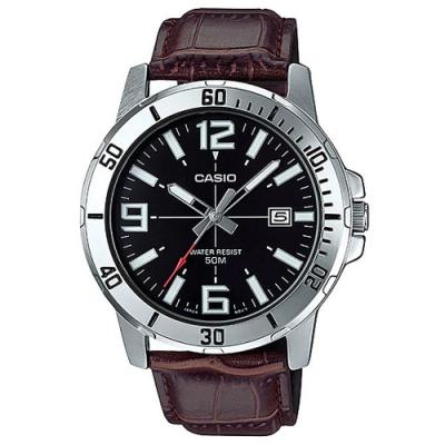 CASIO 簡約時刻潛水風格指針皮帶錶-多品任選