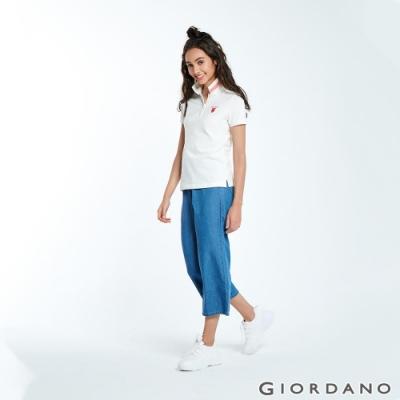 GIORDANO 女裝純棉薄牛仔九分寬褲-77 淺藍