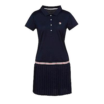 FILA女抗UV吸濕排汗洋裝-丈青 5DRS-5008-NV