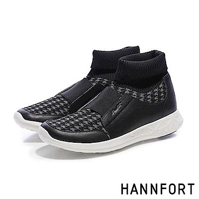 HANNFORT ICE千鳥格編織襪套運動靴-女-潮流黑
