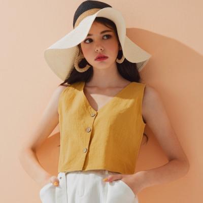 AIR SPACE LADY 復古質感排釦無袖上衣(黃)