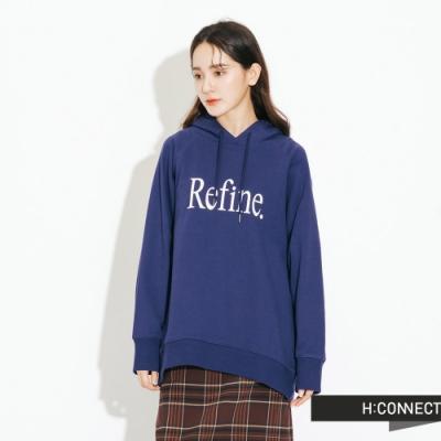 H:CONNECT 韓國品牌 女裝-簡約印字帽T-藍