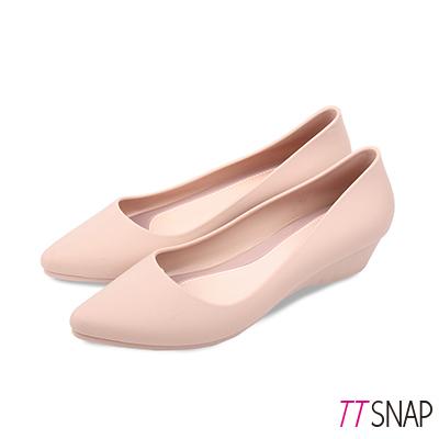 TTSNAP雨鞋-晴雨兩用粉嫩低跟防水鞋 米