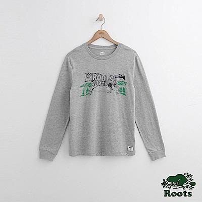 Roots 男裝-動物長袖T恤-灰