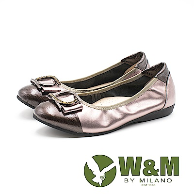 W&M 漆皮皮革拼接U型環扣娃娃鞋 女鞋 - 古銅(另有黑)