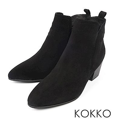 KOKKO-流浪玫瑰率性真皮粗高跟短靴-不凋黑