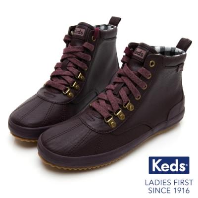 Keds SCOUT BOOT 華麗斜紋布綁帶休閒防潑水靴-酒紅