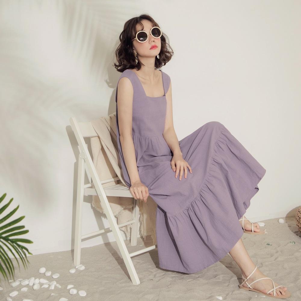 純色高含棉荷葉裙襬方領寬肩帶無袖長洋裝-OB大尺碼