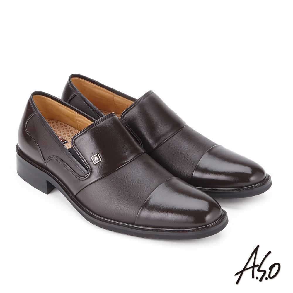 A.S.O 勁步雙核心 拼接牛皮奈米紳士鞋 咖啡