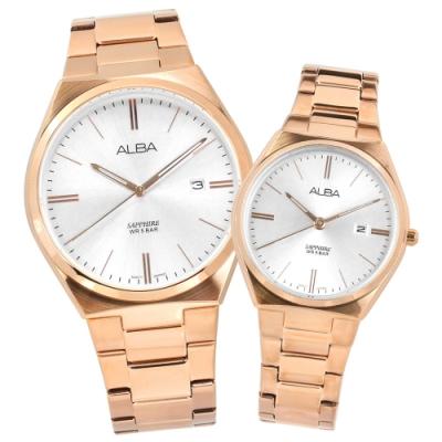 ALBA 藍寶石水晶玻璃 日期 不鏽鋼手錶 情人對錶-銀x鍍玫瑰金/41mm+30mm