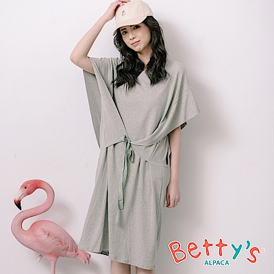 betty's貝蒂思 高雅落肩前綁帶洋裝(淺灰)