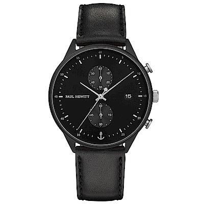 PAUL HEWITTChrono Line風尚真皮計時手錶-黑/42mm