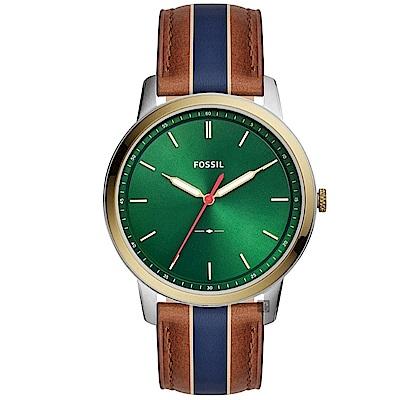 FOSSIL Minimalist 薄型簡約手錶(FS5550)-綠/44mm