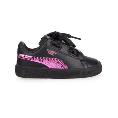 PUMA BASKET HEART BLING INF 女兒童休閒運動鞋-緞帶 慢跑 36684901 黑紫