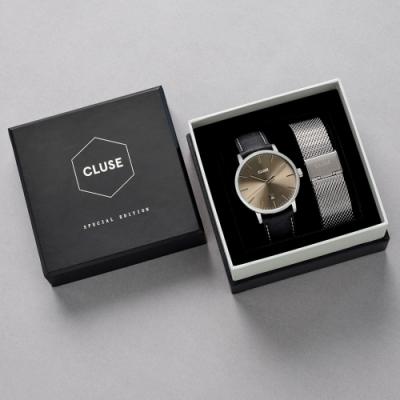 CLUSE Aravis 男款限量腕錶禮盒(銀框/銀色不鏽鋼錶帶+黑色皮革錶帶) 40mm