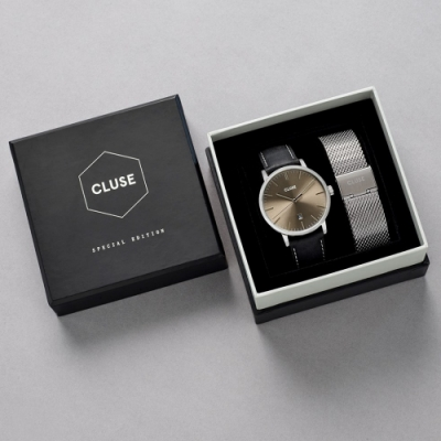CLUSE Aravis 男款限量腕錶禮盒(銀框/銀色