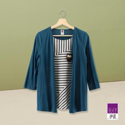 ILEY伊蕾 條紋配色假兩件上衣(藍/綠)
