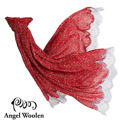 【Angel Woolen】留香印度手工cashmere蕾絲披肩-紅