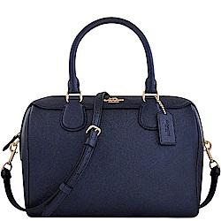 COACH 星夜藍色光澤防刮皮革手提/斜背兩用包