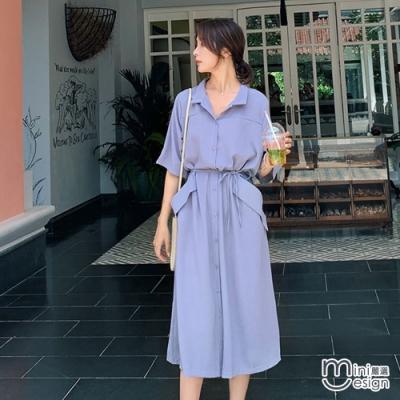 Mini嚴選- 排扣收腰綁帶連身裙 二色