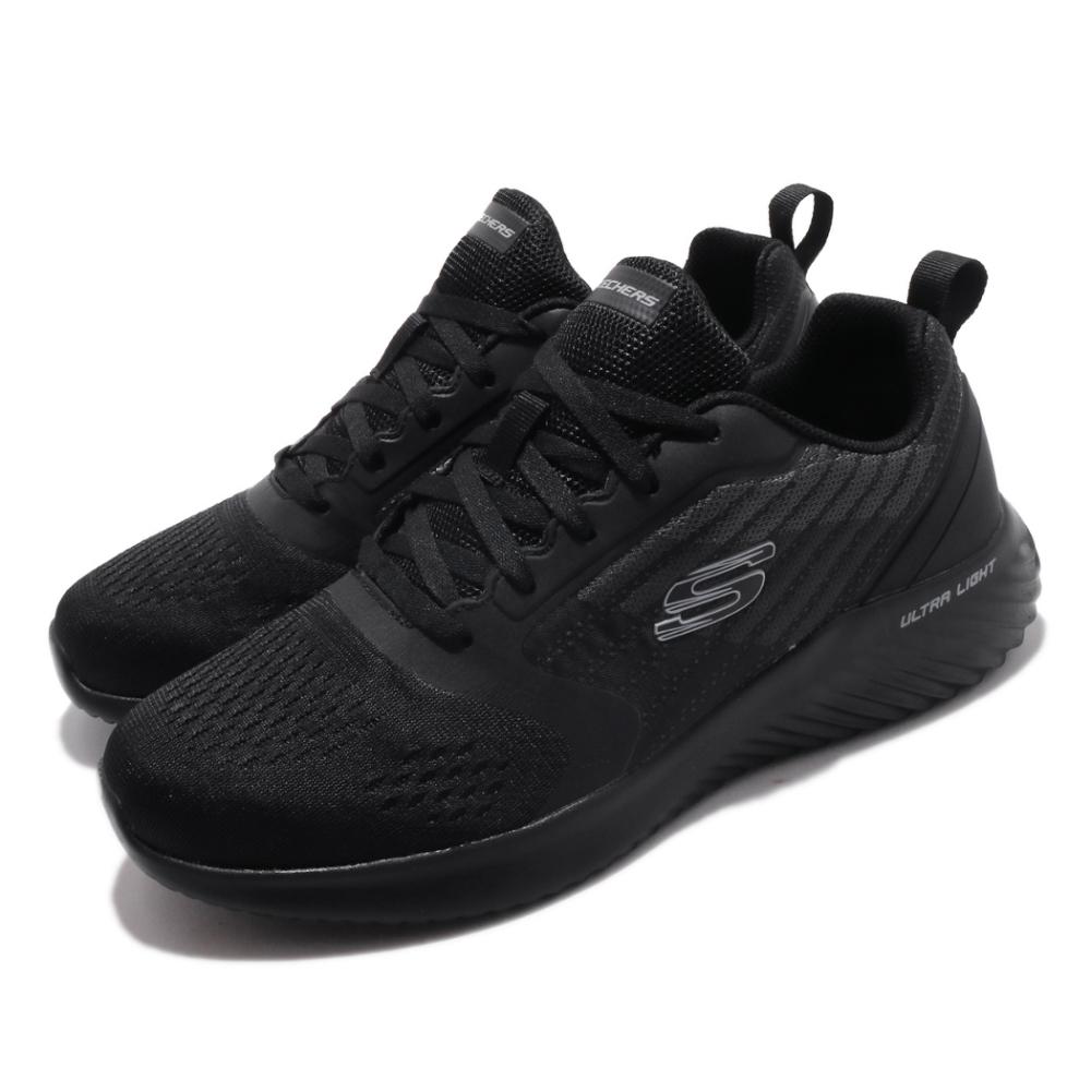 Skechers 慢跑鞋 Bounder Verkona 運動 男鞋 輕量 避震 緩衝 透氣 記憶泡棉鞋墊 黑 灰 232004BBK
