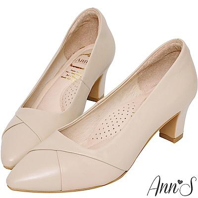 Ann'S此生最好穿-頂級小羊皮備受呵護跟鞋-粉杏