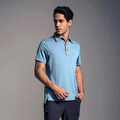 GFun 男款竹炭POLO衫-灰藍(G7URSM4-BLUE)