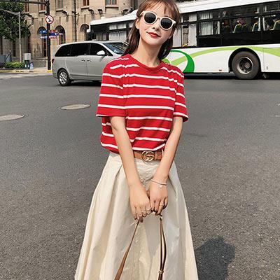 條紋短袖T恤+高腰排釦半身裙兩件套 (共二色)-Kugi Girl
