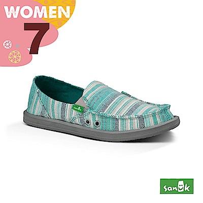 SANUK 女款US7 編織條紋懶人鞋(蒂芬尼藍)