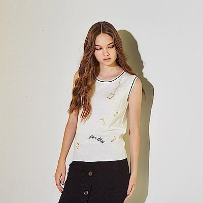 ICHE 衣哲 時尚刺繡花百搭配色針織造型無袖背心上衣-白(兩色)