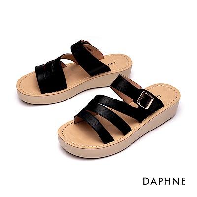 達芙妮DAPHNE 涼鞋-縷空幾何條帶厚底拖鞋-黑色