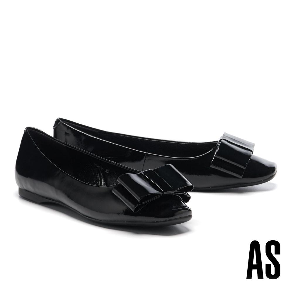 平底鞋 AS 氣質高雅蝴蝶結造型全真皮方頭平底鞋-黑