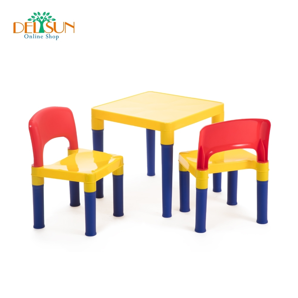 DELSUN 兒童桌椅組 繽紛彩虹
