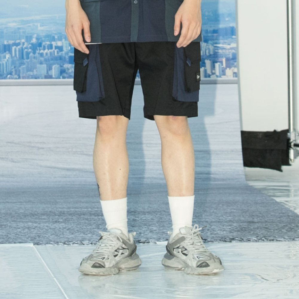 LAKING.LAB-多口袋拼接格紋短褲