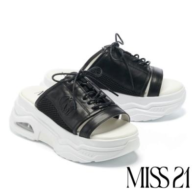 拖鞋 MISS 21 甜酷 90 系撞色綁帶運動堆疊厚底拖鞋-黑