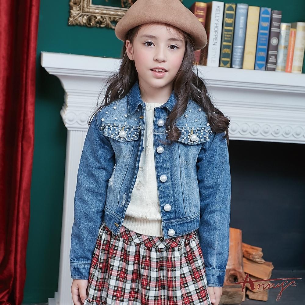 Annys安妮公主-秋冬款個性刷破珍珠牛仔外套*8472藍色